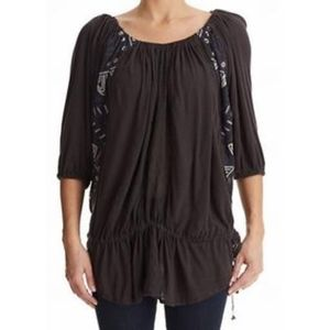 Free People Embroidered Gathered Seamed Blouse